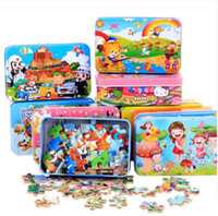 Wholesale Train Brain Enhance Intelligence Pieces Of Iron Box Wooden Puzzle Toys For Children
