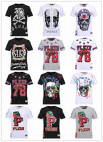 Wholesale PP Brand T Shirt Men Short Sleeve Shirts Cotton PHILIPP PLEIN Turn Down Collar T Shirt Casual Tops Tees Homme Hiphop Tshirt Boy Camiseta