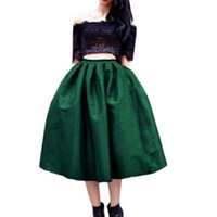 Wholesale Skirts for Women Autumn Winter High Waist Pleated A Line Skirt with Pocket Knee Length XL XL Black Dark Red Green Solid Color Jupe Skirts