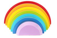 Wholesale New wooden toy DIY Colour Sort Rainbow wooden blocks baby educational toy baby gift
