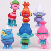 Wholesale 6Pcs Set DREAMWORKS Movie Trolls Poppy DJ Suki Guy Diamond Cooper Branch Critter Skitter Boards cm PVC Action Figures Toys free DHL