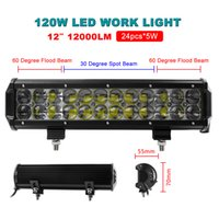 120 Degree 19000lm 12 HOT! 12 Inch 120W 24pcs x 5W LED Flood Spot Combo Beam Work Light Bar Offroad Driving Waterproof 4WD Truck ATV CLT_40X