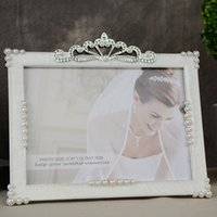 Wholesale 2016 new inches PVC rectangle wedding photo frame with pearls and rhinestone decoration