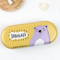 Wholesale By Korean students iron glasses box creative cartoon small fresh lovely boys and girls glasses box