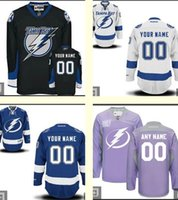 bay mix - 2016 Men Custom Tampa Bay Lightning Stitched Purple White Blue Black Personalized Ice Hockey Jerseys Can add any patch Top Quality Mix order