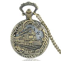achat en gros de poche quartz train montre-Vente en gros-Vintage Bronze Train Hollow Front Locomotive Engine Collier Pendentif Quartz Steampunk Pocket Watch P152
