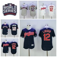 Wholesale Cleveland Indians Francisco Lindor Jersey World Series Postseason Lindor Baseball Jerseys Flexbase Blue Pullover White Grey Green