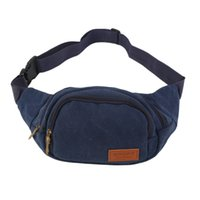 Wholesale New Canvas Three Zipper Fanny Pack Chest Waist Bag with Cell Phone Pouch