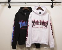 Wholesale Thrasher Hoodies men Flame Blaze Thrasher Skateboard hoodie fleece hip hop hoodies trasher Pullover hoodies sweatshirts