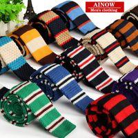 Precio de Lazo de lana-Las lanas de los nuevos hombres de la manera hicieron punto la corbata del ocio de la boda del lazo Lazo plano del negocio