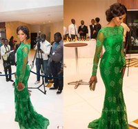 Wholesale 2017 Green Sheer Lace Evening Dresses Long Illusion Sleeves Sweep Train Celebrity Dresses Mermaid Prom Gowns