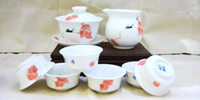 banana tea - Ceramic Porcelain Tea Set with Traditional Chinese Handpainted Banana Leaves Painting PTS XCBJY