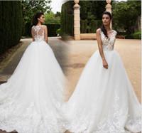 application covers - 2017 Vintage Wedding Dress Sheer V Neck Sleeveless A Line Chapel Train Applications Tulle Wedding Gowns Vestido De Noiva