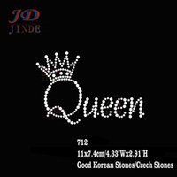 Wholesale 40pcs Hotfix Rhinestone Transfers Iron On Motif Queen Crown Letters