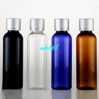 anodized aluminum screws - 20PCS ml Amber Bottle Cobalt Blue Round Shoulder PET Bottle With Aluminum Anodized Screw Cap Plastic Empty Emulsion Bottle