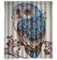 achat en gros de motifs de tissus sur mesure-Douanes 36/48/60/66/72/80 (W) x 72 (H) Inch rideau de douche Owl Pattern DIY imperméable rideau de douche de tissu de polyester
