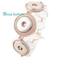 al por mayor botón de aleación de zinc-Venta al por mayor-P00688 botón de encaje de botón de oro BraceletBangles más nuevo botón de encaje de botón de aleación de zinc Brazaletes de cadena de 18 mm botón de encaje Snap Jewelry