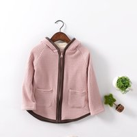 Wholesale 2016boy or girl warm fashion Korea cotton cashmere cardigan coat color with long sleeves