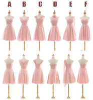 Wholesale 2017 Chiffon Short Bridesmaid Dresses Six Style Neckline Sleeveless Zipper Above Knee Wedding Party Gowns With Pleats