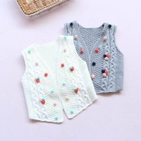 Wholesale 2017 Spring New Baby Girl Cardigan Cotton Girls Waistcoat POMPOM knitted Vest Children Clothing
