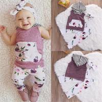 al por mayor vendas del bebé púrpura-La impresión floral de los bebés fija 2017 el verano embroma la camisa con capucha + los pantalones + las vendas 3pcs de las muchachas de los cabritos Ropa infantil de los niños púrpuras recién nacidos de los equipos