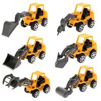 Venta al por mayor- 6Pcs Vehículos de Ingeniería de Vehículos Mini Car Toys Lote de Vehículos Sets Juguetes Educativos Ingeniería de Plástico Vehículos Model Building Kits