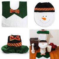 beige bath mat - set Snowman Christmas Bathroom Set Toilet Seat Cover Rug Xmas Decoration Bath Mat Holder Closestool Lid Cover