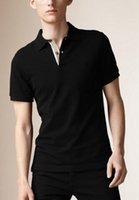 Wholesale Top Quality Mens Casual T Shirt Brit Style Polo Tee Shirts Summer Leisure Sport Shirts Short Sleeve Spring Autumn Solid T shirt S XXL