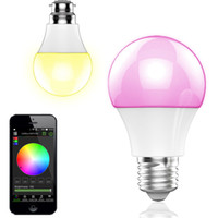 Wholesale NEW Bluetooth LED Bulb W E27 RGBW Bluetooth Wireless Smart LED Light Color Change Dimmable Bulbs IOS Android APP