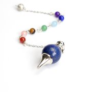 Wholesale Natural Tumbled Chakra Stones Carved Reiki Dowsing Energy Healing Ball Pendulum with Chakra Beads