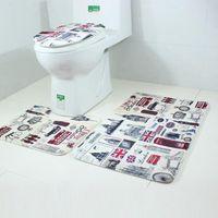 Wholesale SP Mosunx Business Hot Selling set Bathroom Non Slip Blue Ocean Style Pedestal Rug Lid Toilet Cover Bath Mat