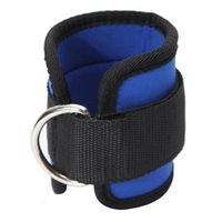 muslo azul al por mayor-Venta al por mayor- LGFM-Ankle Correa D-ring Sport Gym Fitness Attachment Muslo Leg Pulley Levantamiento de pesas Azul Negro