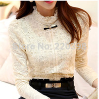 Wholesale 2014 Autumn fashion women tops Women Clothing Hot Blusas Femininas Blouses amp Shirts Fleece Women Crochet Blouse Lace Shirt