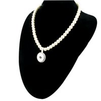 Pendant Necklaces alloy fittings pendant - New Imitation Pearls Beads Snap Necklace For Women With Elegant Pendant Fit DIY MM Ginger Snap Buttons Jewlery ZG020