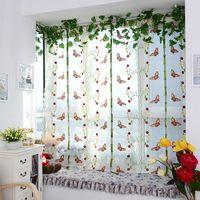 Wholesale New Butterfly Pattern Door Roman Window Sheer Floral Curtain Drape Voile Valances