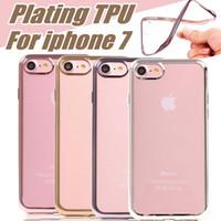 Iphone7 cas ultra mince cristal clair plaques de caoutchouc galvanoplastie TPU Soft Housse de téléphone portable pour Iphone 7 plus Samsung Note7 OPP sac