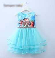 Wholesale 2 Color Girl Moana princess dress purple rapunzel dress kids princess party birthday lace sleeveless dresses B001