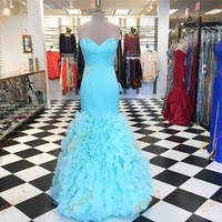 Cheap Light Aqua Prom Dresses 2k17 with Tiered Skirts and Lace Up Back Real Images Ruffled Organza Mermaid Prom Dress In Stock