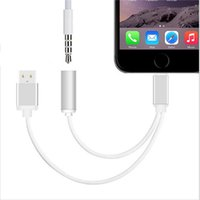 audio headsets - USB Charging and Audio Adapter Connector Cable mm Female Headset Connector Cord For Iphone plus Iphone