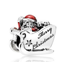 Wholesale S925 Sterling Silver Sleighing Santa Charm Bead with Engraved Merry Christmas Fit European Pandora Jewelry Bracelet Necklaces Pendant
