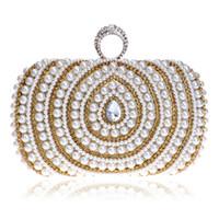 Venta al por mayor de cuentas de señora bolsos de dedo anillo de diamantes bolsa de bolsos de noche de cristal de lujo de la boda de perlas bolsos para la cena del partido