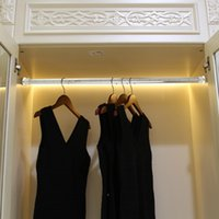 Wholesale High strength double aluminum wardobe clothes hanging rod clothes hanger with LED light CE ROHS approved