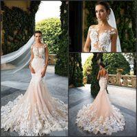 Wholesale Milla Nova Mermaid Wedding Dresses Cap Sleeve Sheer Jewel Neck with Applioques Lace Vestido De Novia Elegant Bridal Gowns Custom