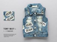 Wholesale Spring new boys cloth printing English word hole burr Tiger handsome cowboy vest fashion models