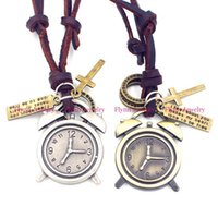 alarm clock pendant - Hip Hop Jewelry Leather Necklace Pendant Alarm Clock Accessories Metal Pendulum Amulet Women Mens Jewelry Decorations Gifts
