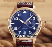 Super Clone marque de luxe IW500909 Pilot Montre d'Aviateur IW500916 Blue Dial Gents Montre Rose Gold Brow bracelet en cuir Montres pour hommes