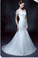 Wholesale 2016 new explosion of hot new word shoulder fishtail wedding dress wedding bride wedding female drill lace