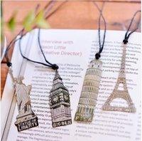 al por mayor torre eiffel al por mayor del partido-Venta al por mayor de metal de acero inoxidable de Buidling Torre Eiffel Bigben hueco marcador de papelería regalo partido favores Marcadores