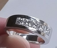 Wholesale DIAMOND RING Mens kt White Gold cts Channel Set Appraised