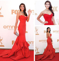 Wholesale 2017 Latest Emmy Awards Tier Ruffles Taffeta Celebrity Formal Occasion Dresses Gorgeous Mermaid Sweetheart Red Sweep Train Evening Dresses